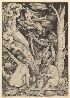 "Hans Baldung Grien or Grün, ""Witches' Sabbath"" (1510), woodcut"