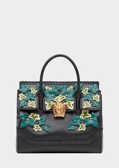 Versace Edera Palazzo Empire Bag for Women Versace Handbags, Versace Bag, Versace Fashion, Versace Backpack, Women's Handbags, Donatella Versace, Gianni Versace, Leather Leaf, Calf Leather