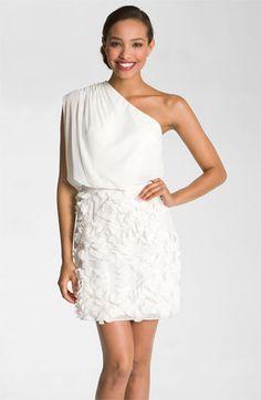 cream dresses for winter showers? Aidan Mattox One Shoulder Petal Skirt Chiffon Dress | Nordstrom $275