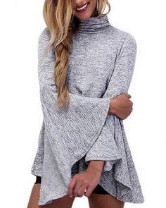Plain gray cowl neck t shirt for women trumpet sleeve tops