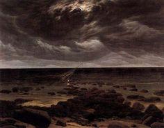 ~ Caspar David Friedrich (1774-1840), Seashore With Shipwreck By Moonlight
