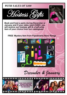 Book a party in December or January and not only will you receive a FREE mystery neon toy but you will get a half price item! Half Price, Hostess Gifts, Party Planning, Mystery, December, Toy, Positivity, How To Plan, Books