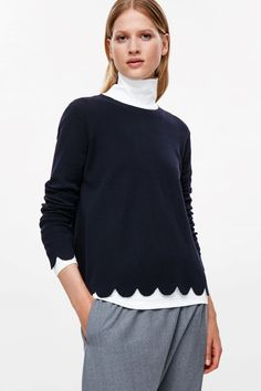 COS image 2 of Scalloped merino wool jumper in Navy