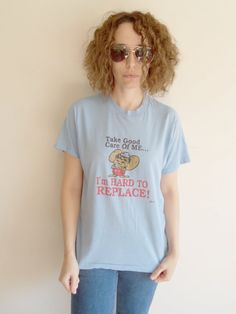 Vintage Blue Mouse Hard to Replace T Shirt by FunkyOldSoul on Etsy