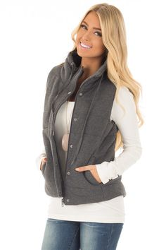 e36bb62ca9 Lime Lush Boutique - Charcoal Hidden Zipper Vest with Side Pockets