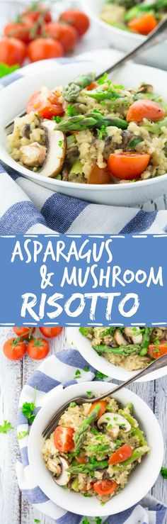This vegan spring risotto with asparagus and mushrooms is super creamy, cheesy, wine-infused, and packed with flavor! This vegan spring risotto with asparagus and mushrooms is super creamy, Vegan Dinner Recipes, Delicious Vegan Recipes, Dairy Free Recipes, Whole Food Recipes, Vegetarian Recipes, Cooking Recipes, Healthy Recipes, Healthy Meals, Couscous