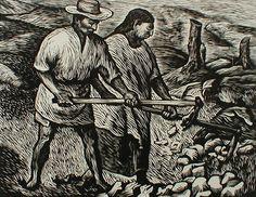 Trabajadores del campo by Adolfo Mexiac