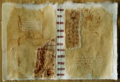 collaged teabags, drawings on teabags dipped in beeswax and hand stitching on Japanese paper...another homage to the page of a book!