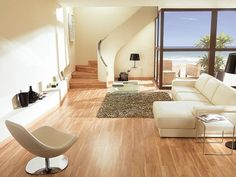 Living Room with Laminate Floor Parquet Bamboo Color