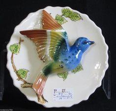 Vintage Wall Pocket White w Applied Blue Bird Myrtle Warbler Thames Foil Sticker | eBay