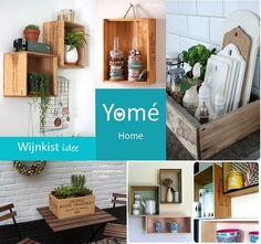 Wijnkist ideetjes http://www.yomesieraden.nl/yome-home/klein-meubelen.html