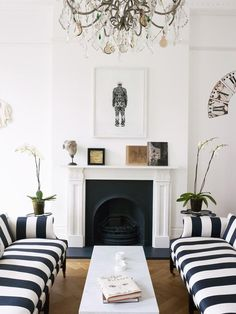 Black and white striped sofas in a London townhouse via Thou Swell @thouswellblog