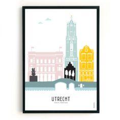 Poster Utrecht in kleur - Café BelgiëDeze poster is custom-made en houden we daarom niet op voorraad. De poster kost dan ook iets meer dan de 'standaard' collectie. Skyline Art, Utrecht, Where The Heart Is, Brisbane, Paper Crafts, Abstract, City, Artist, Travel