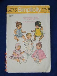 "Vintage Simplicity 5275 16"" Wardrobe for Vinyl Body Baby Dolls"