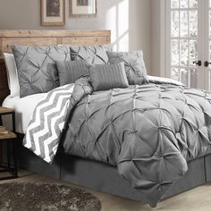 Luxurious Reversible Comforter 7 Piece Bedding Set Queen Bed Pleat King Chevron Product Description: This 7 piece reversible comforter set will work in any bedroom. With its natural and soft looks, ma Dream Bedroom, Home Bedroom, Bedroom Decor, Bedrooms, Bedroom Ideas, Bedroom Fun, Peaceful Bedroom, Trendy Bedroom, Glam Master Bedroom