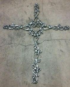 Amazing Grace 4ft Steel Wall Scroll Cross - By Frank Jackson Forge | eBay