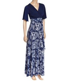 Look what I found on #zulily! Navy Paisley Surplice Maxi Dress #zulilyfinds