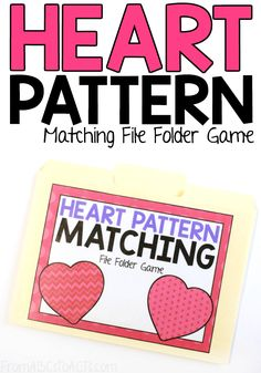 Work on some visual discrimination with your preschooler and this heart pattern matching file folder game! Perfect for Valentine's Day! Folder Games For Toddlers, Fine Motor Activities For Kids, File Folder Activities, File Folder Games, Preschool Printables, Preschool Lessons, Preschool Activities, Cognitive Activities, Counting Activities