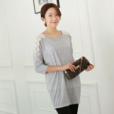 Shoulder Lace long-tee / Size : Free / Price : 20.54 USD