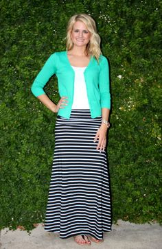 Michael Kors navy blue and white stripe maxi skirt, F21 white slub ...