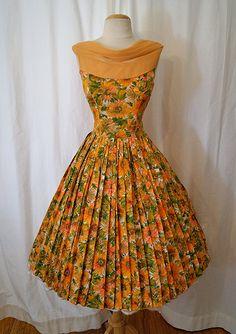 1950's tangerine orange sheer chiffon floral print party dress