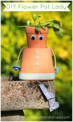 DIY flower pot lady tutorial from little button diaries