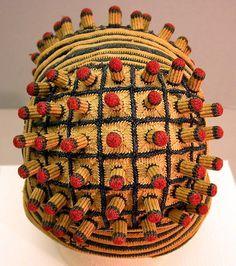 Man's Hat (Ashetu)  Date:19th–20th century Geography:Cameroon, Central Africa Culture:Bamum or Tikar (?) Medium:Cotton, wood Dimensions:Diameter: 6 1/2 in. (16.5 cm)