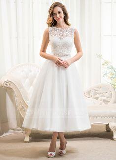 [€ 146.90] A-Linie/Princess-Linie U-Ausschnitt Wadenlang Tüll Spitze Brautkleid mit Perlen verziert Pailletten