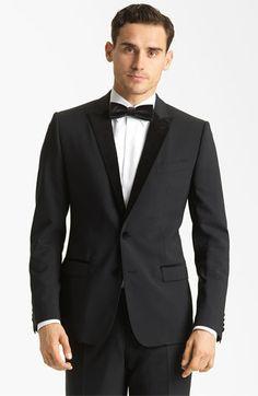 Dolce Velvet Trimmed Designer Tuxedo available at Nordstrom Winter Wedding Attire, Wedding Suits, Designer Tuxedo, Holiday Suits, Wearing A Tuxedo, Buy Suits, Business Casual Attire, Black Tie Affair, Tuxedo For Men