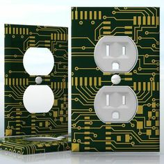DIY Do It Yourself Home Decor - Easy to apply wall plate wraps | Electronic Panel  Internal Circuitry  wallplate skin sticker for 1 Gang Wall Socket Duplex Receptacle | On SALE now only $3.95 Do It Yourself Home, Light Switch Covers, Plates On Wall, Decals, Wraps, How To Apply, Stickers, Easy, Design