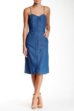 Mimi Chica - Spaghetti Strap Denim Button Down Dress at Nordstrom Rack. Free Shipping on orders over $100.
