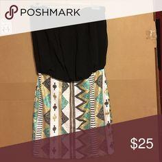 Strapless Mini Dress. New Size Small Super Cute Mini Strapless Dress. Black Top With Black Aztec Sequin Bottom. Dresses Strapless