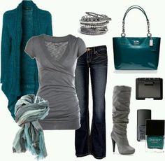 Nice outfits ⋆ Instyle Fashion One Fashion Moda, Look Fashion, Womens Fashion, Fall Fashion, Weekend Fashion, Feminine Fashion, Trending Fashion, Grey Fashion, Ladies Fashion