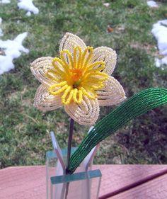 Daffodil  French Beaded Flower