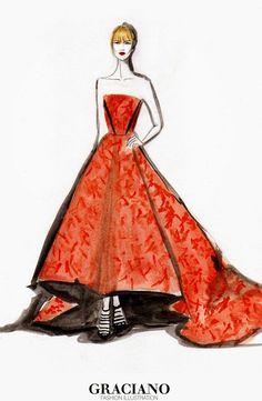 GRACIANO fashion illustration: JANUARY JONES - Emmys 2014