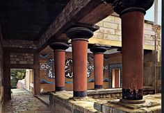 Knossos, Crete Greece c. 1700-1400BCE colorful painted irregular collumns, built from courtyard out