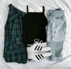 Imagem de fashion, adidas, and outfit Cute Casual Outfits, Swag Outfits, Simple Outfits, Stylish Outfits, Kpop Fashion Outfits, Cute Fashion, Teenage Girl Outfits, Outfits For Teens, Mode Rockabilly