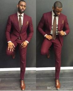 Classy Burgundy Wedding Mens Suits Slim Fit Bridegroom Tuxedos For Men Two Pieces Groomsmen Suit Cheap Formal Business Jackets With Tie