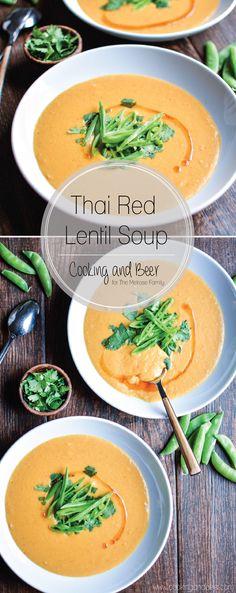 Thai Red Lentil Soup: a healthier vegetarian soup recipe that's perfect for autumn!