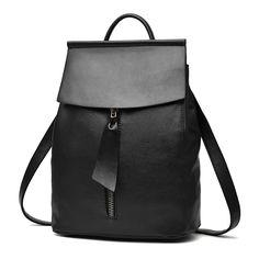 Купить товарЖенщины кожа рюкзак минималистский сплошной черный высокое качество школьные сумки для подростков девочек опрятный стиль рюкзаки в категории  на AliExpress.  дорогой друг, добро пожаловать в наш магазин, вы можете сэкономить больше на вашем Приложении!            посетите наш