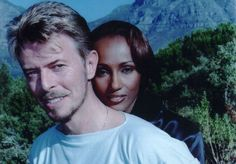 David Bowie and his supermodel wife Iman pose during a visit to cape town, South Africa for the Bihali exhibition of african arts