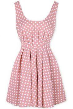 Pink Sleeveless Polka Dot Backless Bow Dress