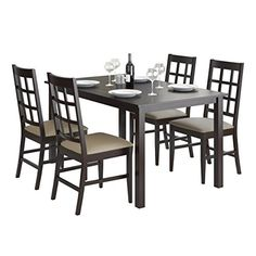 CorLiving 5 Piece DRG-795-Z6 Atwood Dining Set with Leatherette Seats, Taupe Stone