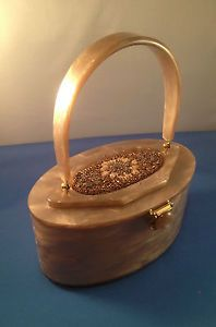 VINTAGE RIALTO LUCITE PURSE RARE MINK COLOR, BEADED LID, AND OVAL SHAPE