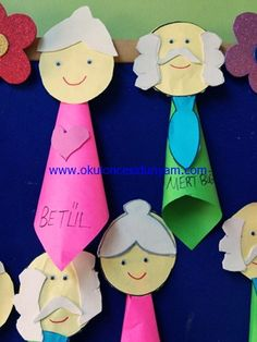 An art project made up of rolled up construction paper. Grandparents Day Activities, Grandparents Day Cards, Craft Activities, Preschool Crafts, Diy For Kids, Crafts For Kids, Family Drawing, Diy Back To School, Grands Parents