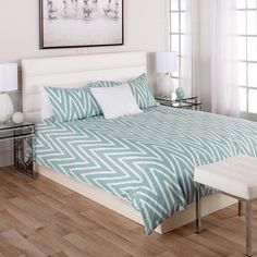 Pick up a duvet cover set for an instant style reboot in your bedroom. Our selection of affordable, easy care styles includes quilted, pin tucked, printed, solid and more so it's simple to find your bedroom's new look. Home Bedroom, Modern Bedroom, Master Bedroom, Bedroom Ideas, Bedrooms, Bed Linen, Linen Bedding, Furniture Decor, Modern Furniture