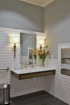 A Welcoming Dental Office - Heather Scott Home & Design Office Bathroom, Diy Bathroom Decor, Modern Bathroom, Design Bathroom, Bathroom Ideas, Home Design, Design Ideas, Interior Design, Brick Wall Decor
