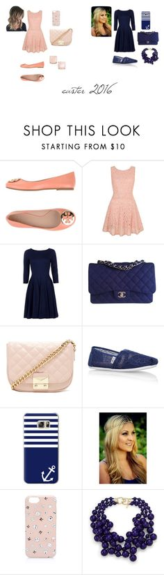 """""""ash and stella #8"""" by amberwilson-5 ❤ liked on Polyvore featuring Tory Burch, Yumi, Chanel, Forever 21, TOMS, Casetify, Karl Lagerfeld, Kenneth Jay Lane, Kate Spade and Easter"""