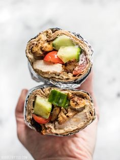 Prep the ingredients for these Greek Chicken Wraps to keep on hand to build fresh wraps or salads all week. BudgetBytes.com