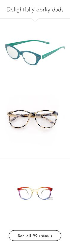 """Delightfully dorky duds"" by rongomai ❤ liked on Polyvore featuring accessories, eyewear, eyeglasses, glasses, sunglasses, blue, women, betsey johnson eyeglasses, cateye glasses and betsey johnson glasses"
